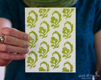 Greeting Card - Flower Mantra - hand block printed on natural paper with green ink