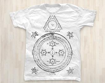 The Magic Circle Men T Shirt / Magic Symbols Spells and Magic / Short Sleeves Tshirt WHITE S,M,L,XL