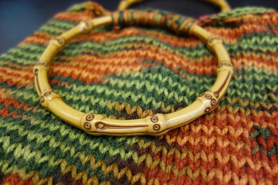 Knitted Multicolor Purse with Bamboo Handles