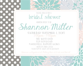 Bridal Shower Invitation ( Digital Print File)