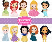 Princess Clip Art Set Disney Princesses Clipart - 10 pieces rapunzel, tiana, snow white, cinderella, ariel  (personal or commercial use)