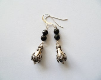 Black onyx and bali sterling silver earrings