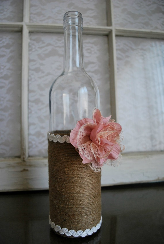 items similar to lace twine wine bottle vase country