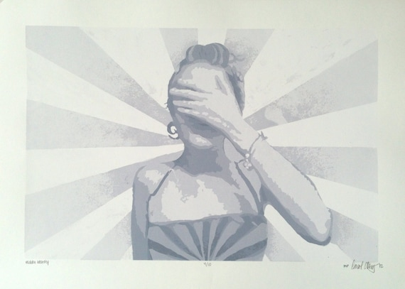 "Grey Toned Screen Print, ""Hidden Identity"", 15"" x 21"" // Art // Human // Figurine // White // Decor // Grey // Punk // Minimal"