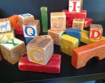 28 vintage children's painted blocks