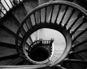 Black and white spiral staircase - RWOODSUMphotography
