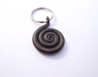 spiral key ring hand forged, wax finish blacksmith keyring