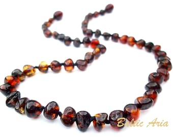 Baltic Amber  Teething Necklace for Baby Handmade Knotted.  Children, Baby, Toddler  Necklace. Deep Cognac  Color  Beads.