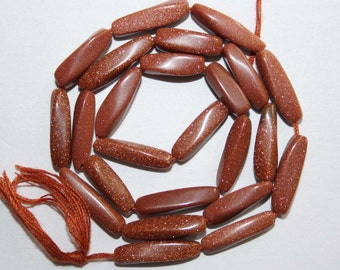 Natural AAA Quality Goldstone 3X12 to 4X16mm Smooth Twisted 13 inches long Strand MX537