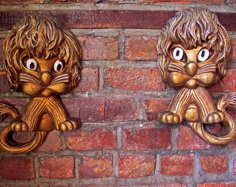 2 Shaggy Wide Eyed Lions by Homco