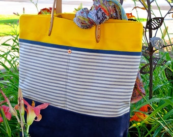 Waxed Canvas Tote Bag with Leather Handles-Perfect for Everyday, the Beach or Weekend