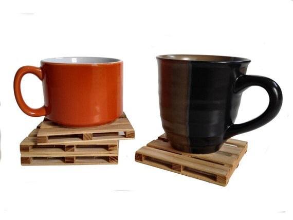 Beverage Pallet Drink Coaster - Coffee Coaster - 4 Coaster Set - Natural Reclaimed Hickory Wood
