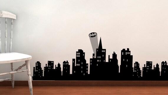 Gotham skyline vinyl wall decal batman by luckygirldesignloft for Batman cityscape wall mural