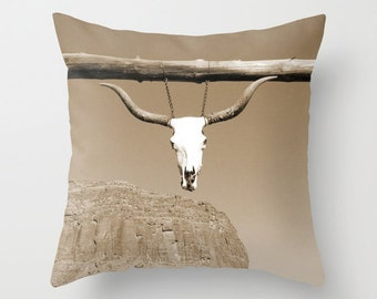 Skull, Pillow Cover, 16x16, home decoration, rustic, farm, grey, muted colors, sepia, Animal