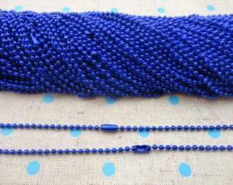 100pcs Royal blue Ball Chain Necklaces with connectors.. 27.5 inch Chain 2.4 mm wholesale--MN56