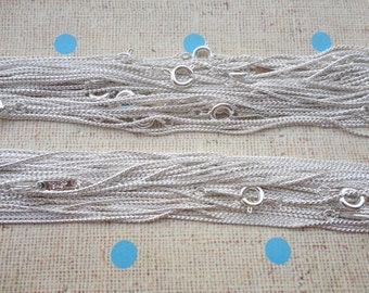 20PCS 42CM Silver Plated Metal Link Necklace Chain 1.0MM--MN20