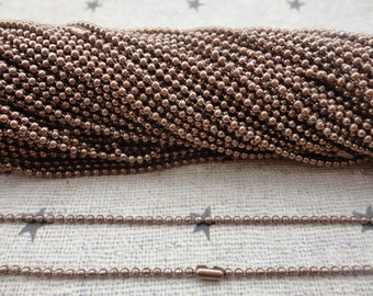 25pcs coffee Ball Chain Necklaces with connectors.. 27.5 inch Chain 1.5 mm wholesale--MN11