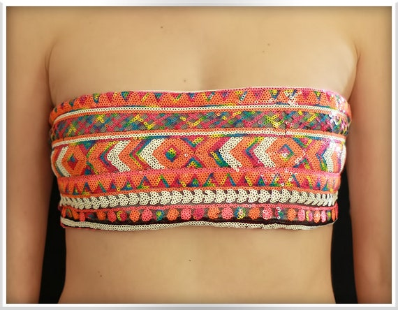 Bandeau Sequin Aztec,  White Bikini Top Spandex, Swim, Swimsuit, Knots, Bathing Suit, Hot Bikini
