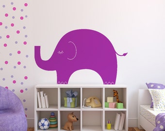 Elephant Vinyl Wall Decal size SMALL - Elephant Wall Sticker, Children Decal, Nursery Decal, Playroom Decal, Bedroom Decor, Baby Decor,