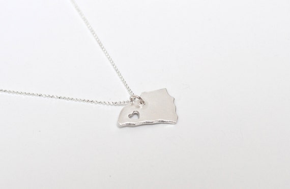 i heart South Carolina State Necklace - Sterling Silver - South Carolina Necklace Personalized State Necklace With Custom Heart Handmade