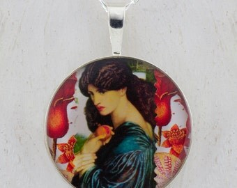 Persephone with her pomegranate Rossetti Sterling Pendant