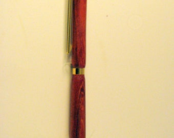Pen and stylus made from paduck  wood.   Can be used on any  ipad, smart phone, iphone, tablet, apple phone.