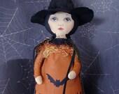 Witch Doll Halloween folk art Handmade Orange black cat wiccan decoration