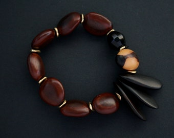 ethnic bracelet with natural nuts and wood - tribal jewelry - stack bracelet