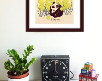 Screenprint Alphabet Print - P is for Panda Print - Kids Wall Art Nursery Silkscreen Print Poster