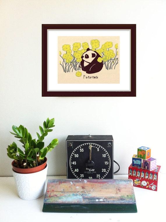 Screenprint Alphabet Print - P is for Panda Print - Kids Wall Art Nursery Silkscreen Print Poster