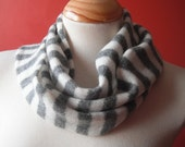 Breton Stripe Scarf in Grey & White - Felted Merino Lambswool