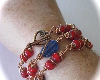 Copper Wire Wrap/Red Necklace/Boho Wrap/Bracelet Necklace/Trade Bead Jewelry/Kyanite Jewelry/White Hearts