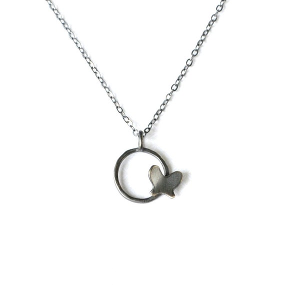Circle Butterfly Necklace with Dark Grey Finish