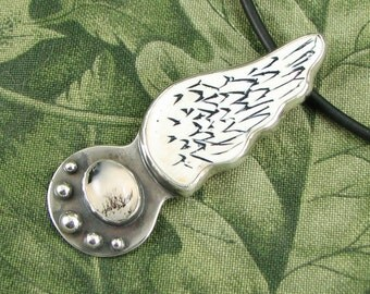 Scrimshaw Wing - Sterling Pendant with Montana Agate stone OOAK