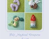 Mini Felt Mythical Creatures Set 1 plush PDF sewing pattern felt animal patterns ornaments