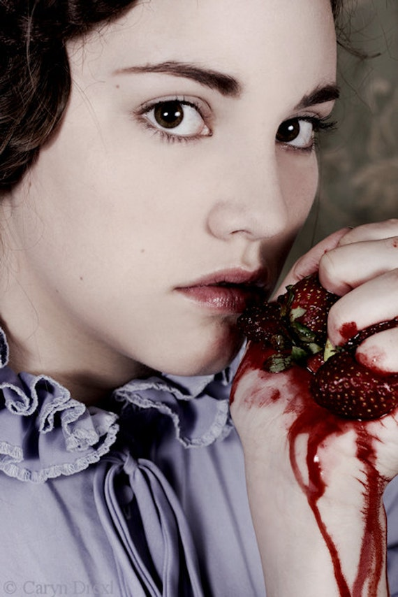 Gush - FREE SHIPPING Surreal photo print Fine art Creepy portrait Girl holding bloody strawberries Face Red Purple Ruffles Strange Eyes Pink