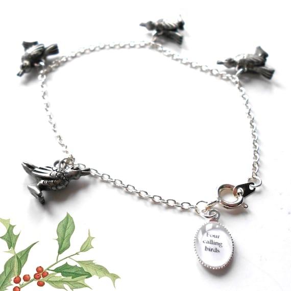 Four Calling Birds Christmas Charm Bracelet .. Only 1