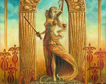 Justice Tarot Art 16x20 Poster Print Art Nouveau Gypsy Art Deco Pagan Mythology Psychedelic Bohemian Gypsy Witch Goddess Art