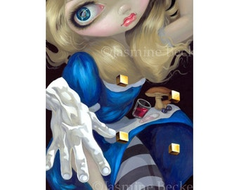 Alice Down a Dali Rabbit Hole white wonderland fairy art print by Jasmine Becket-Griffith BIG 6x18.5