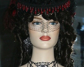 Gothic Hat  Victorian Hat Steampunk Hat Wedding Hat - Lady Gothica
