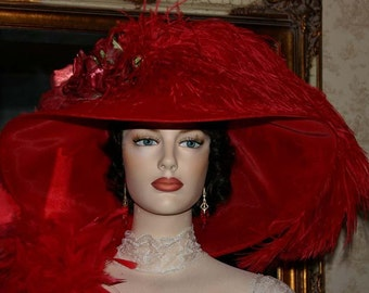 Edwardian Hat Ascot Hat Kentucky Derby Hat Red Wide Brim Tea Hat Titanic Hat Somewhere in Time Hat Downton Abbey Hat - Run for the Roses