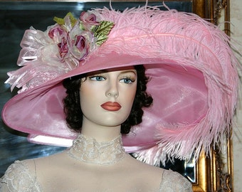 Ascot Hat Kentucky Derby Hat Wide Brim Tea Hat Titanic Hat Somewhere in Time Hat Downton Abbey Hat Edwardian Pink Hat - Run for the Roses