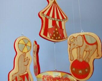 Baby Mobile | Vintage Circus | Circus Mobile | Wood Mobile | Circus Nursery Decor | Circus Elephant | Circus Seal | Circus Lion | Clown