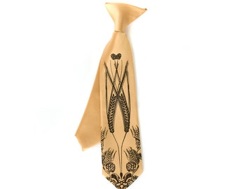 """Boys """"Beer"""" clip-on tie. Baby, toddler or youth size necktie. Hops, wheat & barley silkscreen design."""