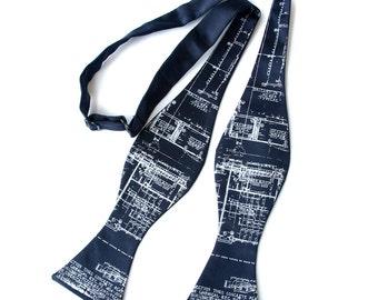 Navy blue architecture blueprint bow tie. Men's bow tie. Ivory cream screenprinted design. Freestyle bowtie. Adjustable.