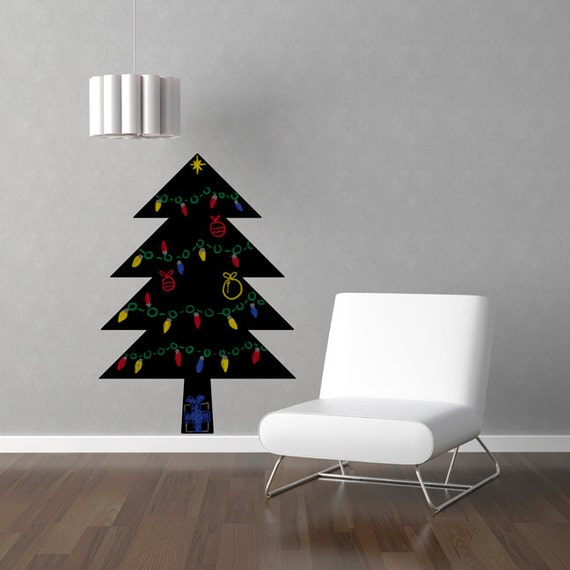 Simple Christmas Tree Chalkboard Wall Decal
