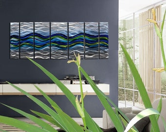 Beautiful Blue, Green, & Silver Metal Wall Art -  Large Abstract Water-like Wall Decor - Waves of Emotion by Jon Allen