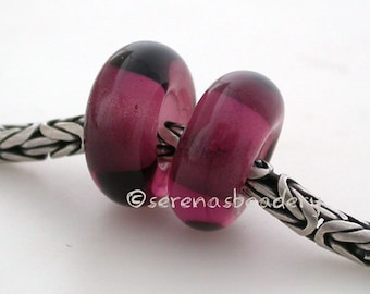 European Charm Handmade Lampwork Glass Beads AMETHYST Pair - TANERES purple