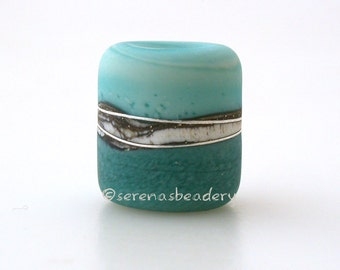 COPPER GREEN and NEPTUNE frosted matte European Charm Lampwork Glass Bead - taneres sra mint turquoise teal