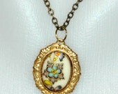 Blue and Gold Flower Pendant Necklace